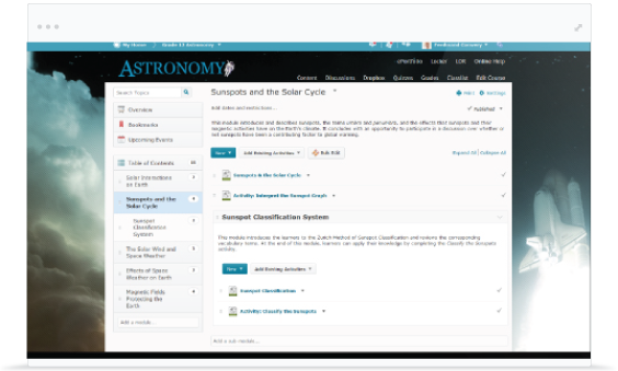 Screenshot of the Brightspace giving faculty and administrators the ability to assess and guide learner performance.