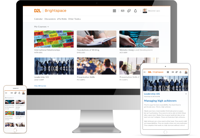 Product screenshots to illustrate the easy, flexible and smart features in D2L