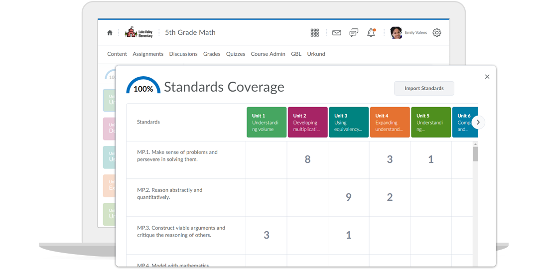 Screenshot of content and standards mapping feature in Brightspace