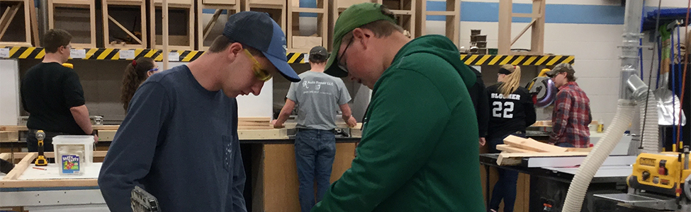 Alpena students in woodshop