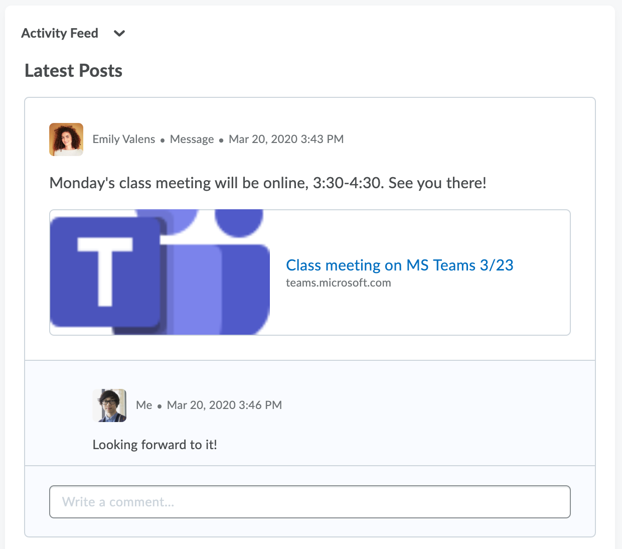 Screenshot of Brightspace Microsoft Teams Activity Feed