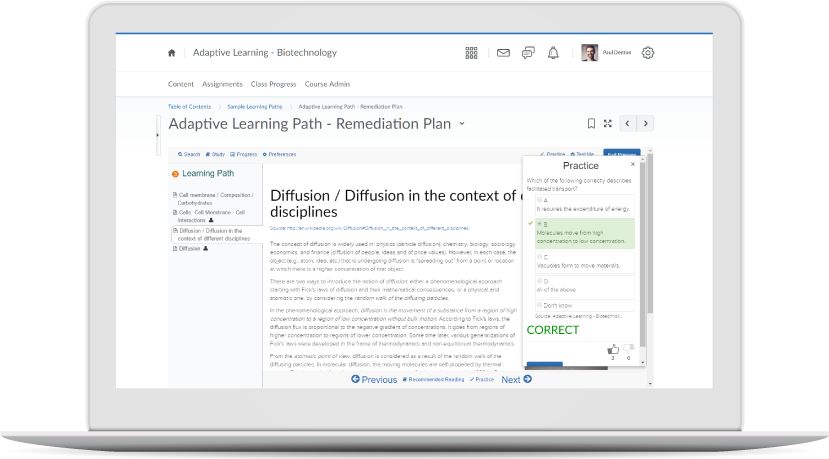 Screenshot of the adaptive learning engine in Brightspace for Higher Education