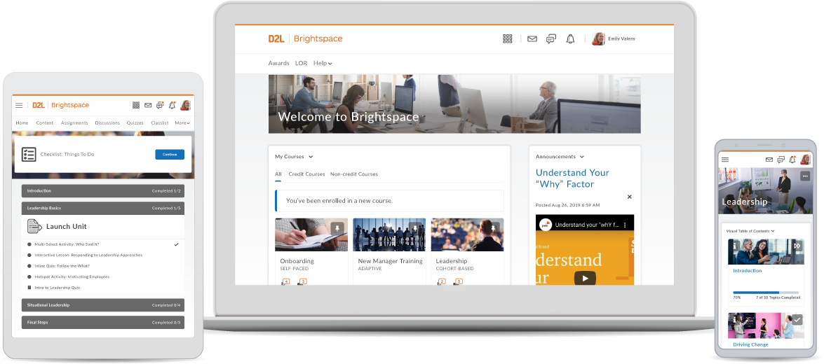 Brightspace screenshots op tablet, laptop en mobiele telefoon