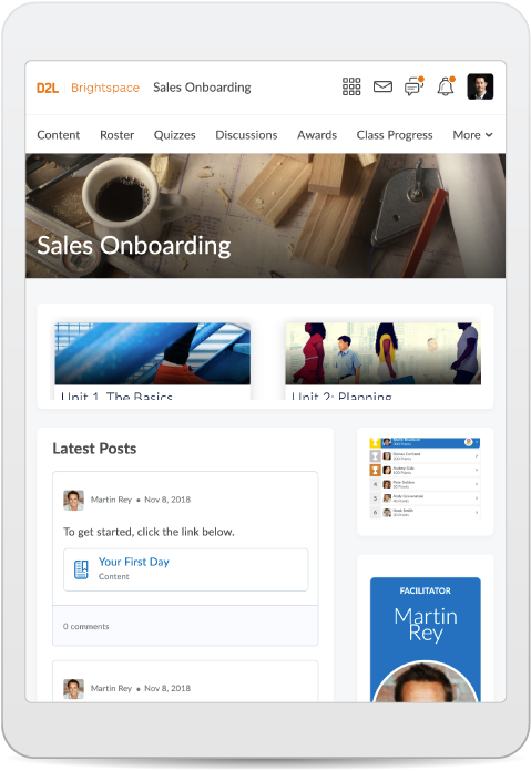 Screenshot of sales onboarding course in tablet
