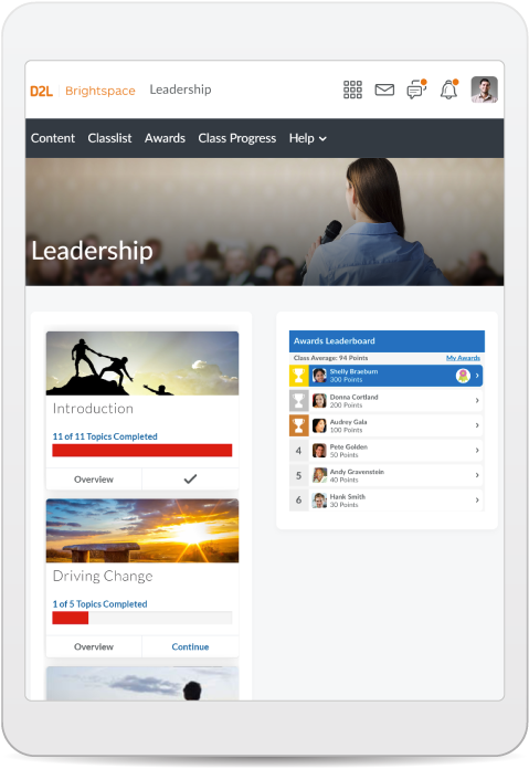 Screenshot of leadership course in Brightspace