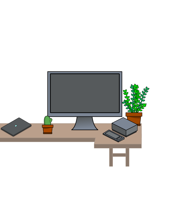 Scene environment with a computer monitor, Laptop, and a few plants sitting on a desk
