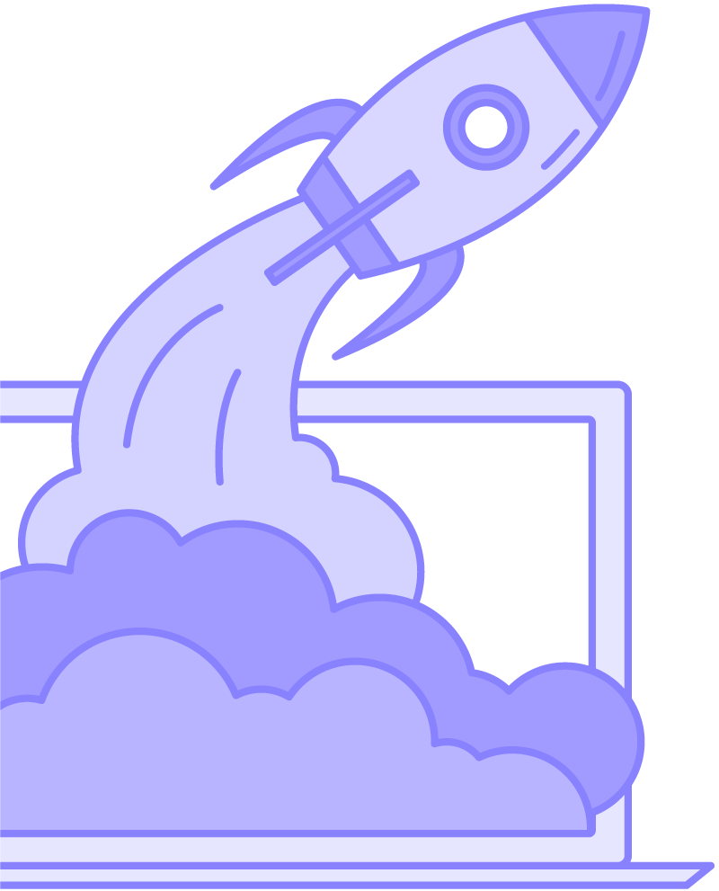 spaceship flying out of laptop