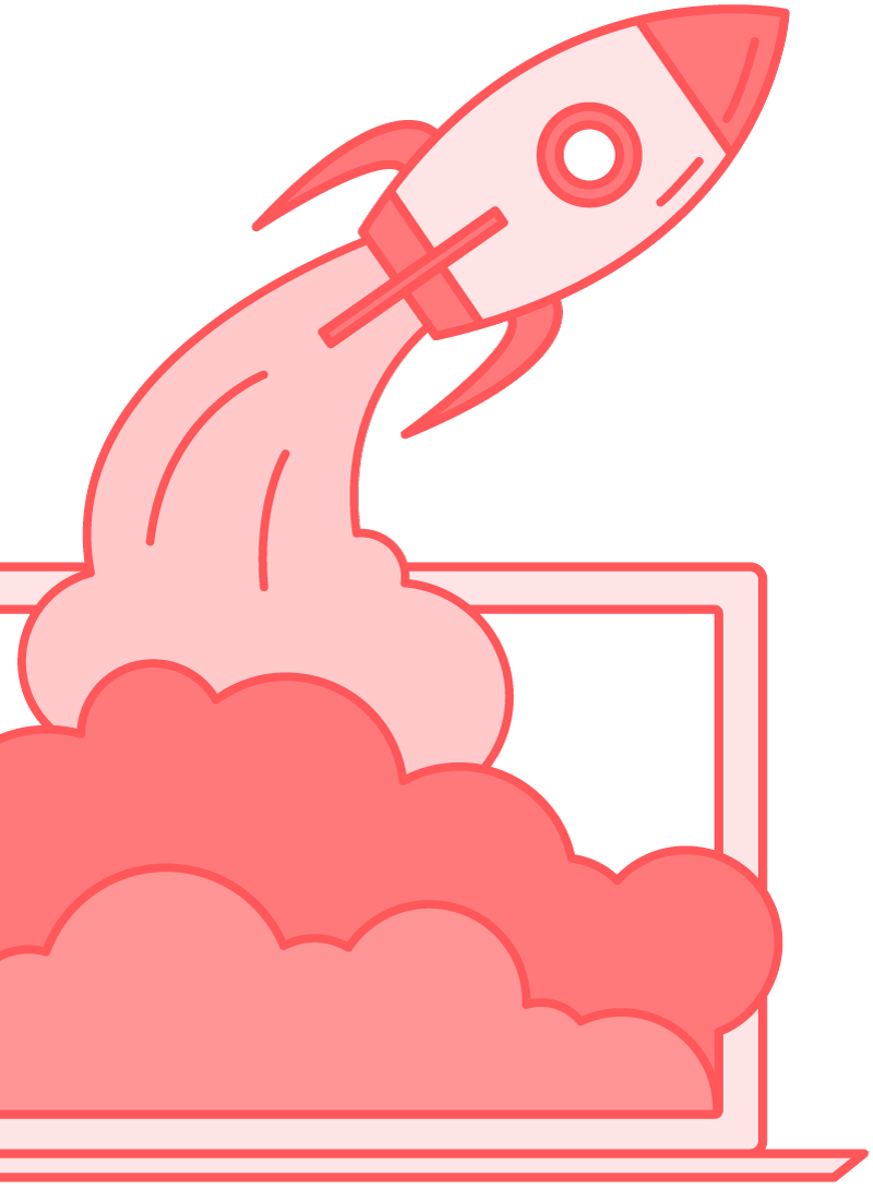 spaceship flying out of computer illustration