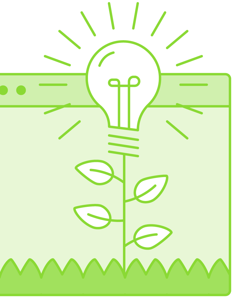 screen with lightbulb growing on plant illustration