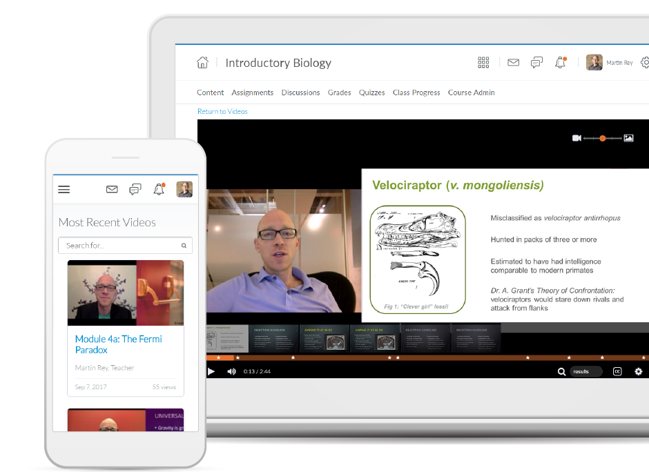 Screenshots of video features available with Brightspace Engagement Plus for Higher Education